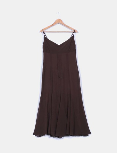 Vestido  tirantes marrón con vuelo  Tapioca