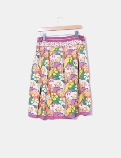 Falda midi floral con strass