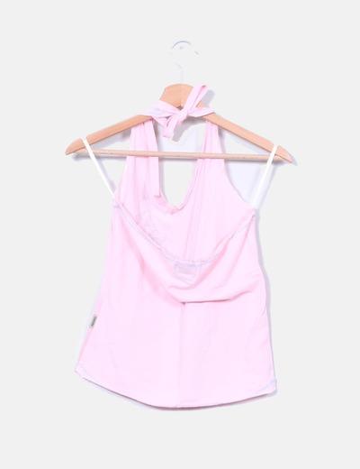 Top rosa cuello halter