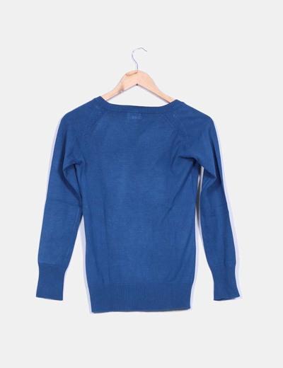 Tricot azul manga larga