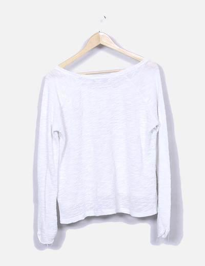 Jersey de punto blanco estampado
