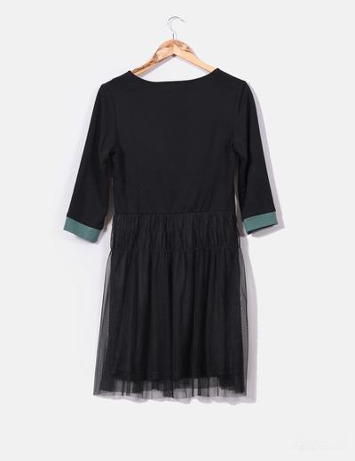 Vestido tricolor falda en negro de tul