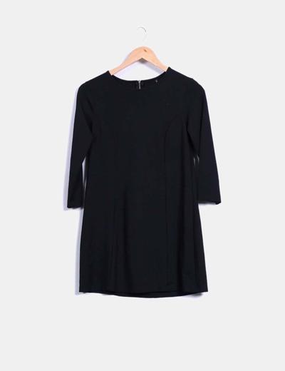 Vestido básico negro de manga francesa Stradivarius