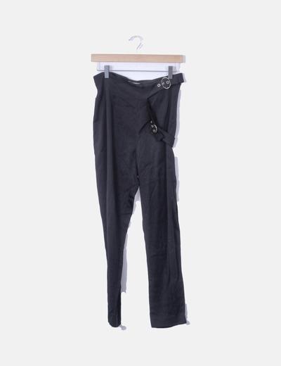 Pantalón recto azul marino con cinturón