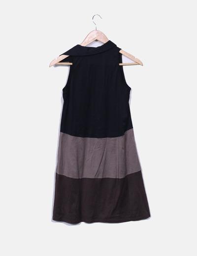 Vestido tricolor manga sisa