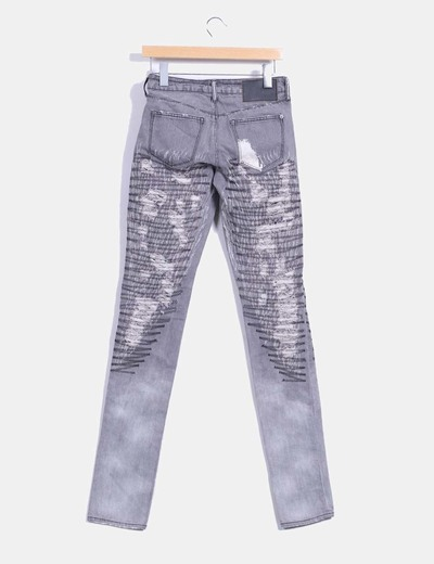 Pantalon denim gris ripped bordado