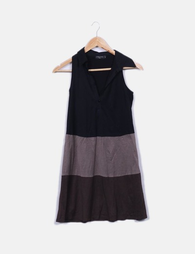 Tricolor dress with sleeves Cortefiel
