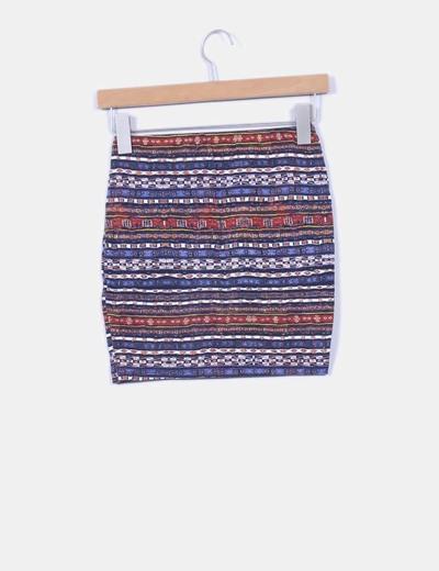 Mini falda ajustada estampado etnico