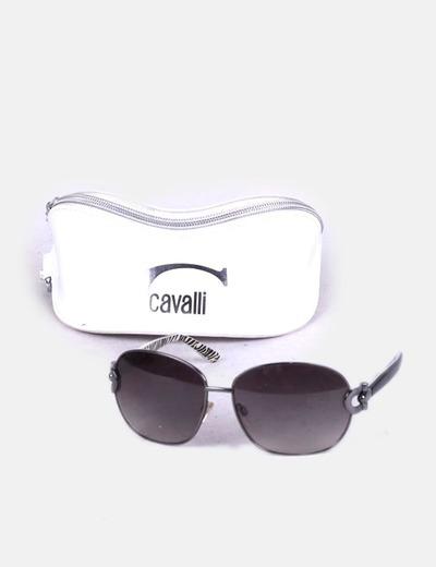 Just Cavalli Gafas de sol con montura bicolor negra y animal print ...