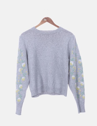 Jersey tricot gris bordado floral