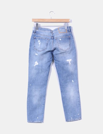 Jeans denim azul medio tobillero