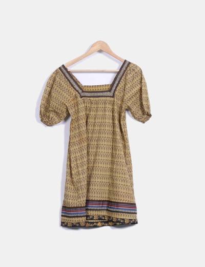 Vestido midi con estampado bicolor combinado