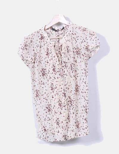 Blusa beige con lunares de colores Zara