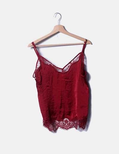 Blusa lencera roja satinada
