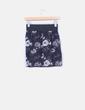 Mini falda negra floral con bolsillos Stradivarius