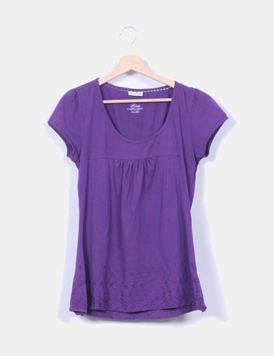 Camiseta morada bordada Street one