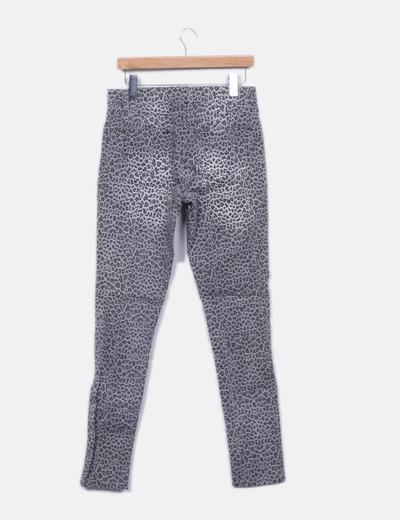 Pantalon gris animal print