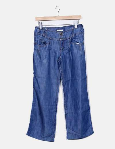 Pantalon bleu denim Promod