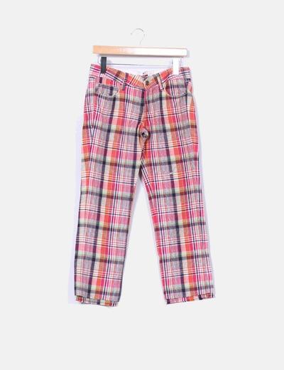 Pantalón lino recto de cuadros Ra-Re
