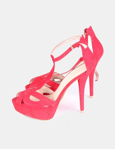 Sandalia tiras rojas con tacón Zara