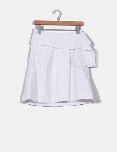 Falda blanca con lazada Mango