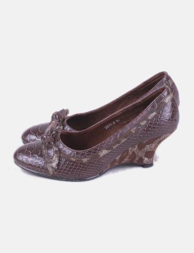 Zapatos cuña marrón