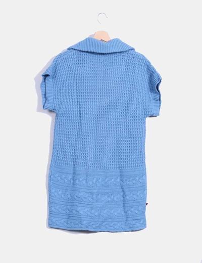 Cardigan azul de punto manga corta