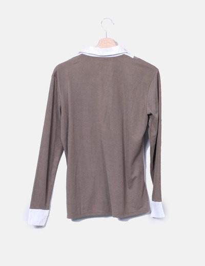 Camiseta combinada marron
