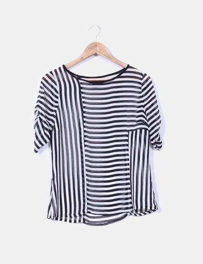 Blusa de rayas bicolor transparente Suiteblanco