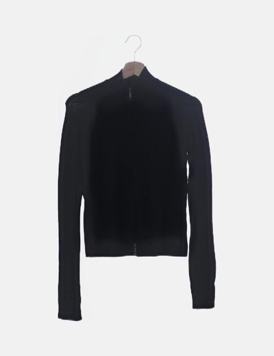 Jersey de punto negro con cremallera