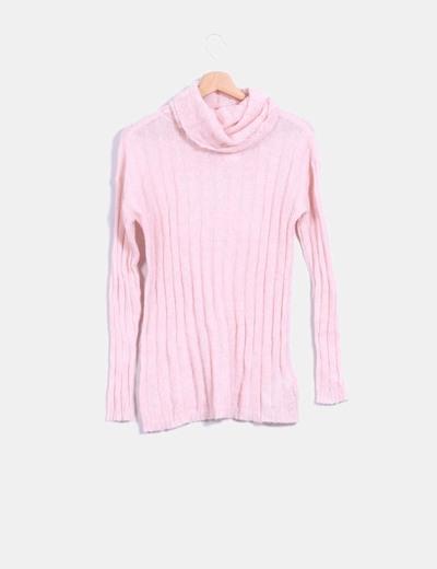 Jersey tricot rosa cuello vuelto Mango