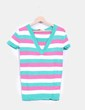Top tricot manga corta  de rayas tricolores Green Coast