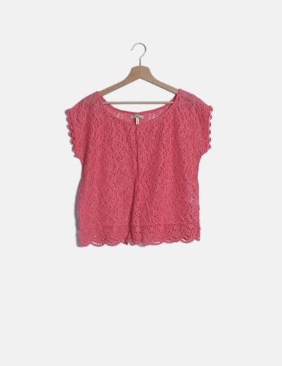 Camiseta rosa crochet manga corta