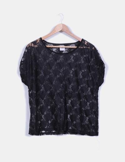 Camiseta negra de encaje Pepper.corn