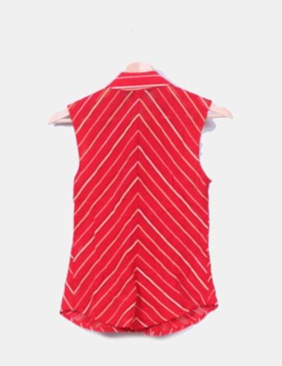 Blusa roja y beige texturizada