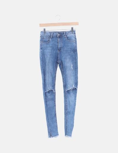 Jeans pitillo rodilla ripped