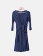 Vestido de flor azul marinho detalhe Tintoretto