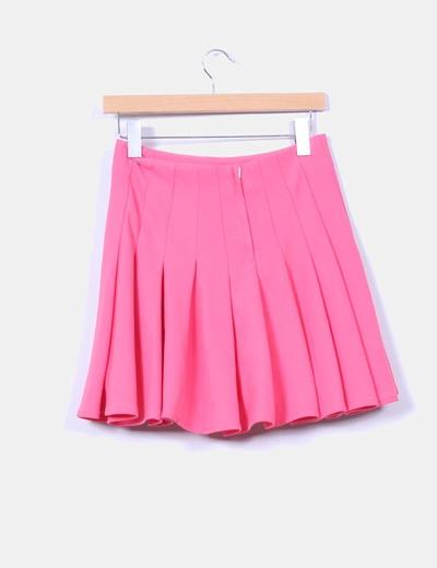 Mini falda godets rosa
