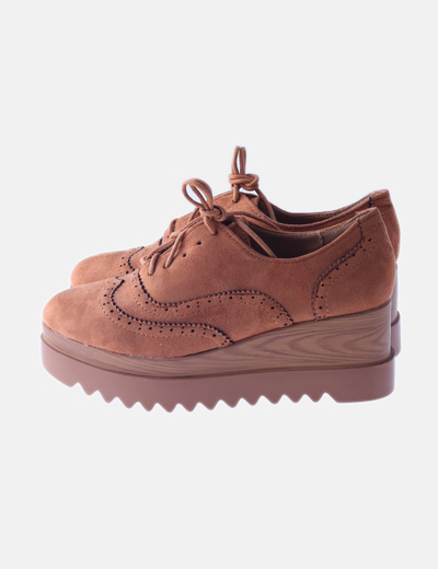 Zapato blucher marrón plataforma