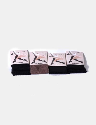 Conjunto de medias cortas negras y marrón Calzedonia