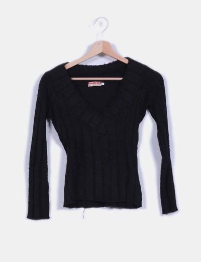 Jersey negro de pelo escote en pico Escod&Co