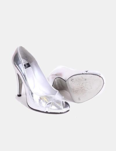 Zapato peep toe plata