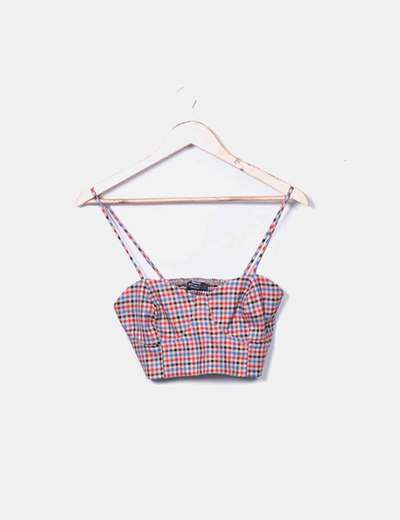 Crop top cuadros Bershka