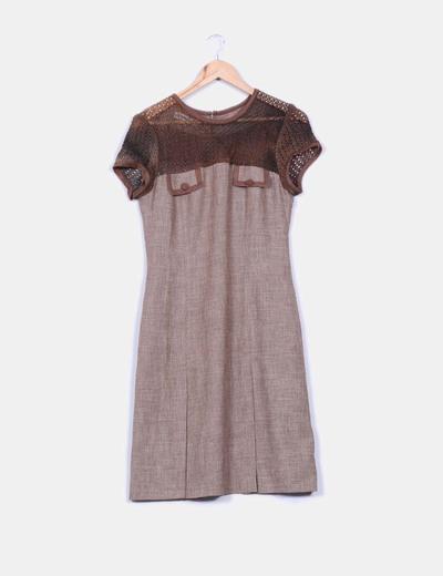 Vestido manga corta doble textura detalle crochet pecho y mangas Maydo