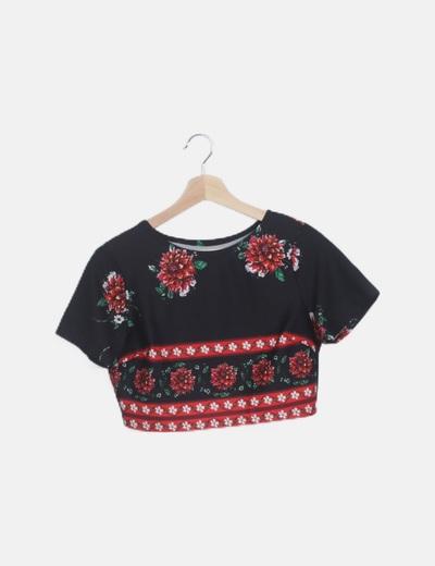 Top negro floral