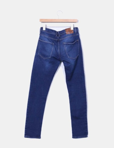 Jeans denim slim tiro alto
