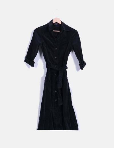 31a7ec1fb Zara Vestido camisero negro de pana (descuento 78%) - Micolet