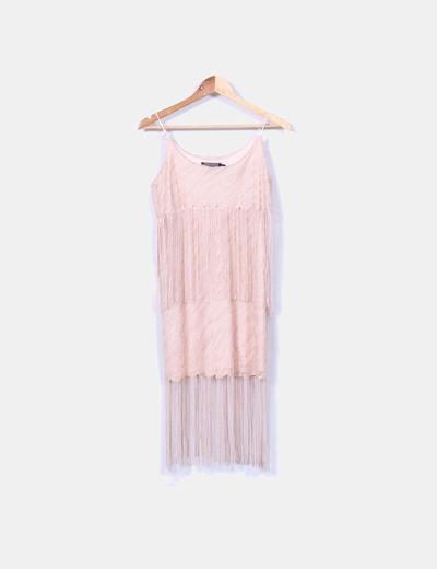 Vestido ganchillo nude glitter con flecos H&M