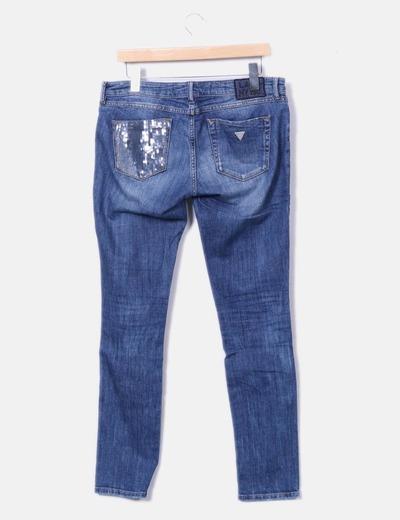 Jeans denim con pailettes