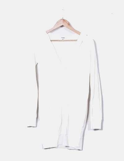 Vestido tricot blanco con capucha